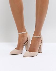 Бежевые туфли на каблуке с острым носком и ремешком вокруг щиколотки ALDO Nicholes - Бежевый