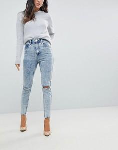Синие джинсы скинни с завышенной талией, рваной отделкой и эффектом кислотной стирки ASOS - Синий