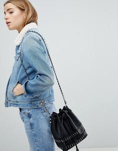 Джинсовая куртка с воротником из искусственного меха Pimkie - Синий