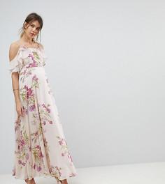 Платье макси с цветочным принтом и вырезами на плечах ASOS MATERNITY - Мульти