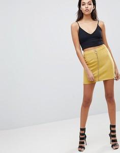 Мини-юбка из искусственной замши с открытой молнией Parallel Lines - Желтый