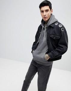 Черная джинсовая куртка oversize с люверсами ASOS - Черный