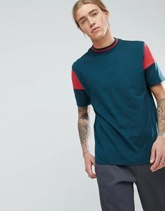 Свободная футболка с контрастными рукавами ASOS - Зеленый