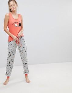 Пижамный комплект из майки с принтом They See Me Rollin Sushi и штанов Loungeable - Оранжевый