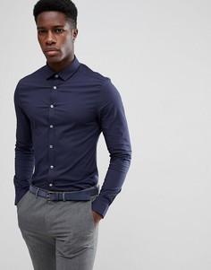 Фактурная приталенная рубашка ASOS - Темно-синий