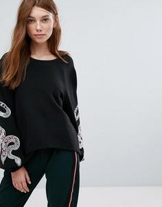 Свитшот с вышитыми змеями на рукавах Oeuvre - Черный