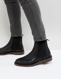 Кожаные ботинки челси со звездами Walk London - Черный