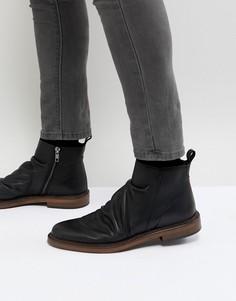Черные кожаные ботинки на молнии Walk London - Черный