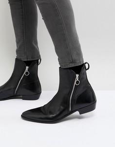 Черные кожаные ботинки на молнии Walk London Rocky - Черный
