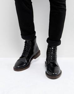 Блестящие кожаные ботинки на шнуровке Walk London Darcy - Черный
