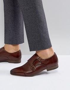 Коричневые туфли с ремешком в стиле монков Walk London City - Коричневый