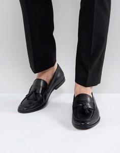 Черные кожаные лоферы с кисточками Walk London - Коричневый
