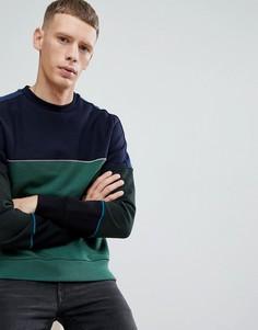 Зеленый свитшот в стиле колор блок с круглым вырезом PS Paul Smith - Зеленый