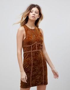 Облегающее платье с выжженным рисунком Free People - Медный