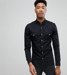 Черная джинсовая рубашка зауженного кроя в стиле вестерн ASOS TALL - Черный