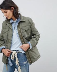 Куртка с подкладкой из искусственного меха Abercrombie & Fitch - Зеленый