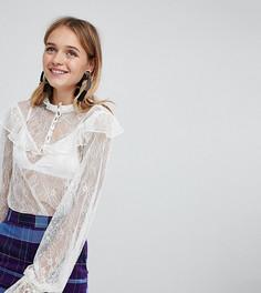 Кружевная блузка на пуговицах Monki - Кремовый