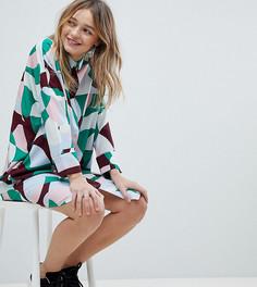 Разноцветное платье-рубашка Monki - Мульти