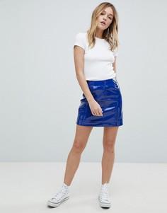 Лакированная мини-юбка Monki - Синий
