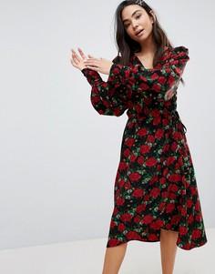Платье с запахом и цветочным принтом Monki - Черный
