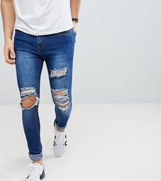 Синие джинсы скинни с рваной отделкой Liquor N Poker - Синий