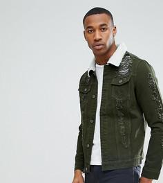 Зеленая джинсовая куртка с рваной отделкой и искусственным мехом Liquor N Poker - Зеленый