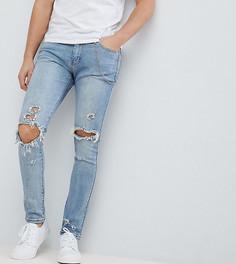Синие выбеленные джинсы скинни с рваными коленями Liquor & Poker - Синий
