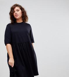 Свободное хлопковое платье мини ASOS CURVE Ultimate - Черный
