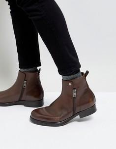 Коричневые кожаные ботинки челси на молнии Diesel - Коричневый