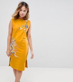 Трикотажное платье без рукавов с вышивкой ASOS PETITE - Желтый