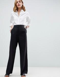 Широкие льняные брюки ASOS Tailored - Черный