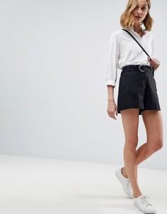Льняные шорты с D-образным кольцом ASOS Tailored - Черный