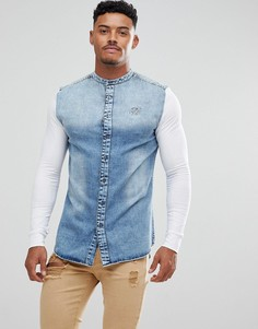 Синяя облегающая джинсовая рубашка с трикотажными рукавами SikSilk - Синий