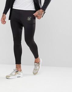 Черные спортивные штаны скинни с логотипом SikSilk - Черный
