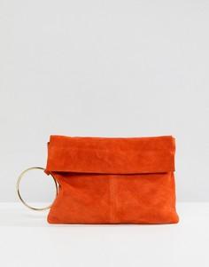 Замшевый клатч ASOS - Оранжевый