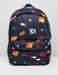 Темно-синий нейлоновый рюкзак со сплошным принтом флага Tommy Hilfiger - Темно-синий