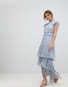 Платье макси с ярусной юбкой и цветочным принтом Forever New - Мульти