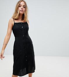 Льняной сарафан миди на пуговицах ASOS PETITE - Черный