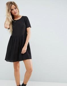 Свободное платье мини в стиле casual в фактурную клетку ASOS - Черный