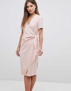 Платье миди с запахом и завязкой ASOS - Розовый