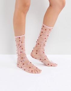 Прозрачные носки в горошек со сборками ASOS - Розовый