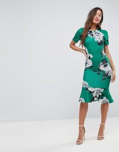 Зеленое платье миди с цветочным принтом ASOS - Мульти
