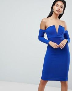Фактурное платье миди с V-образной вставкой ASOS - Синий
