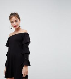 Платье мини с открытыми плечами и отделкой клеш на рукавах ASOS PETITE - Черный