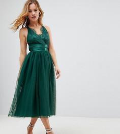 Платье для выпускного миди с ленточным поясом и кружевным топом ASOS PETITE PREMIUM - Зеленый