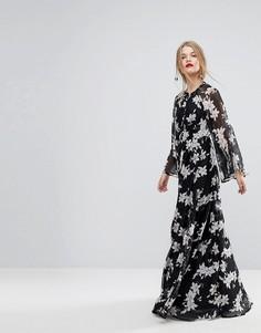 Платье макси с рукавами-кимоно и принтом Y.A.S - Мульти