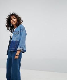 Двухцветная джинсовая куртка Noisy May - Синий
