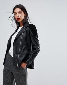 Кожаная байкерская куртка Y.A.S - Черный