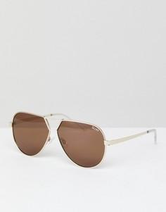 Золотистые солнцезащитные очки-авиаторы Quay Australia Supernova - Золотой