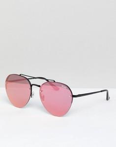 Розовые круглые солнцезащитные очки Quay Australia Somerset - Розовый